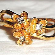 "SALE Vintage Signed Avon ""Flower Brights"" Ring ~ Size 6 ~ nice double band gold-tone"