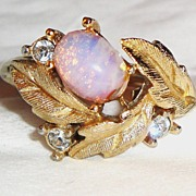 "SOLD Vintage Signed Avon ""Fireflower Ring"" ~ Size 6 ~ faux opal and rhinestones in g"