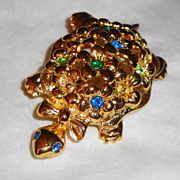 SALE Signed Avon 1994 &quot;Flower Power Turtle Pin&quot; ~ cute turtle with flowers on back