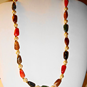 "Faux ""Rock"" Translucent Multi-colored, Multi-shaped Necklace with Faux Pearls"