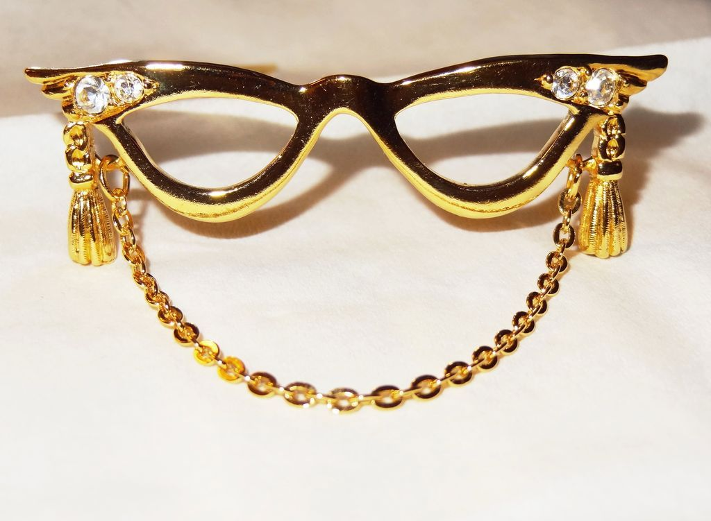 Avon's 1994 &quot;Golden Eyeglass Holder Pin&quot; ~ Hold glasses when not in use