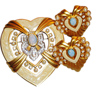"SALE ""Heart of Hollywood Collection"" Brooch/Pin & Clip Earrings ~ Avon's Elizabeth T"