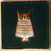 SALE MINT in BOX 1969 Jeweled Owl Pin Perfume Glace~Vintage & Signed by Avon ~ locket with B