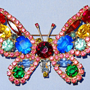 "SALE Kenneth Jay Lane�s Large Multi-Color 3"" Rhinestone Butterfly Pin/Brooch"