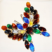 SALE KJL Kenneth Jay Lane's Signed Bold Multi-colored Marquise Rhinestone Butterfly
