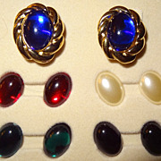 SALE KJL Interchangeable Cabochon Magnetic Earrings - 5 pairs ~ 5 colors