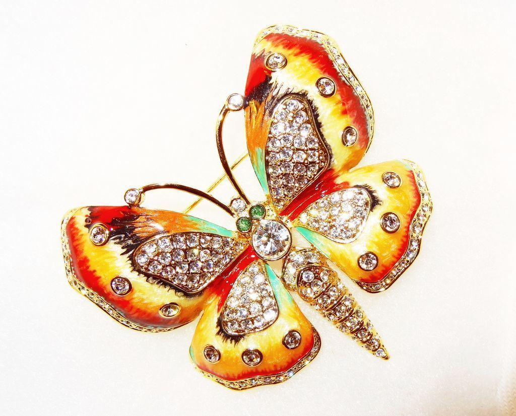 Designer Signed c.1990 KJL Kenneth Jay Lane Pave Crystal & Enamel Butterfly