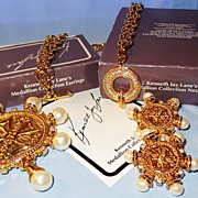 "SALE Kenneth Jay Lane KJL Avon ""Medallion Collection"" Necklace-Pin/Brooch/Earrings ~"