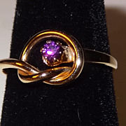 SALE Vintage Avon 1978 Love-Me-Knot Ring SZ 6 ~ faux amethyst in center of love knot