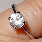 SALE Avon 1979 �Brillantelle Solitaire� ~ Size 7 1/2 ~  large diamond look-alike set in Sterli