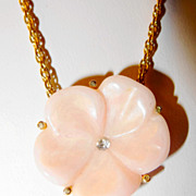 SALE Avon 1978 &quot;Lotus Blossom Pendant&quot; Necklace ~ simulated rose quart with rhinesto