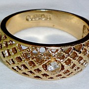 "SALE Vintage Signed Avon ""Lattice Lace"" Ring ~ Size 6 ~ lattice-style gold-tone ring"