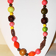 "SALE Vintage 36"" Bright Multi-Colored, Multi-faceted & Round Beads Necklace ~ large and s"