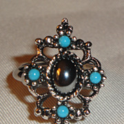 SALE Vintage Signed Avon �Mirabella� Ring ~ Size 6 ~ hematite & faux turquoise in antique silv