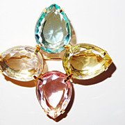 SALE Avon &quot;Pastel Accent&quot; Pin ~ 4 teardrops ~ aquamarine-crystal-topaz-rose-quartz~g