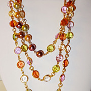 SOLD Vintage Premier Designs Translucent Multi-Colored 60� Bead Necklace