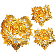 SALE Gorgeous 1994 �Passion Flower Collection� Brooch & Clip Earrings from Avon�s Elizabeth Ta