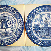 SALE Avons Special Edition Plates  LIBERTY BELL & INDEPENDENCE HALL Commemorating the ...