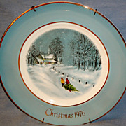 SALE &quot;Bringing Home the Tree&quot; 1976 Avon 3rd Ed. Christmas Plate Trimmed in 22k gold