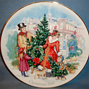 SALE Vintage Signed Avon 1990 &quot;Bringing Christmas Home&quot; ~ family enjoying picking th