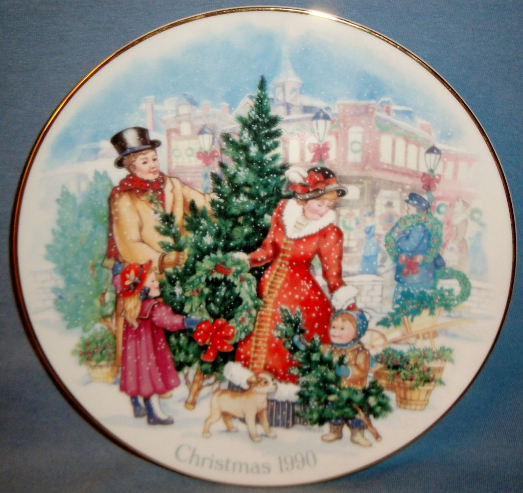 Vintage Signed Avon 1990 &quot;Bringing Christmas Home&quot; ~ family enjoying picking the Christmas tree to take home
