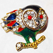 SALE Vintage Rhinestone Owl ~ pave rhinestones, red eye accents, hand-painted  enamel accents
