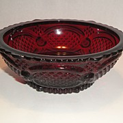 "BOOK PIECE Vintage Avon 1982 �1876 Cape Cod Deep Ruby Red Glass"" Desert Bowl"