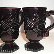 "Vintage Avon Signed 1982-84 �1876 Cape Cod Deep Ruby Red Glass"" Pedestal Mugs"" ~ two"
