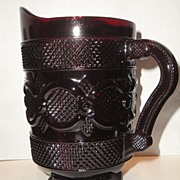"BOOK PIECE Vintage Avon 1984 �1876 Cape Cod Deep Ruby Red Glass"" Water  Pitcher"