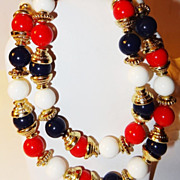SALE Vintage Red, White & Blue Necklace with Gold-tone Bead Caps & Gold-tone Rondelles