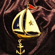 SALE Vintage Signed Avon Ship Ahoy Pin/Brooch ~ wonderful nautical motif set in gold-tone