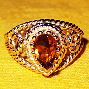 "SALE Vintage Signed Avon ""Smokeblaze"" ~ Size 6 ~ faux topaz stone in gold-tone filig"