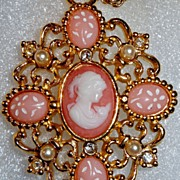 "Signed Avon Book Piece ""Sentimental Cameo Necklace"" ~ white cameo on pink in gold-to"