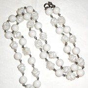 "SALE Vintage Signed Sarah Coventry ""Summer Magic"" ~ a 28"" white bead necklace ~"