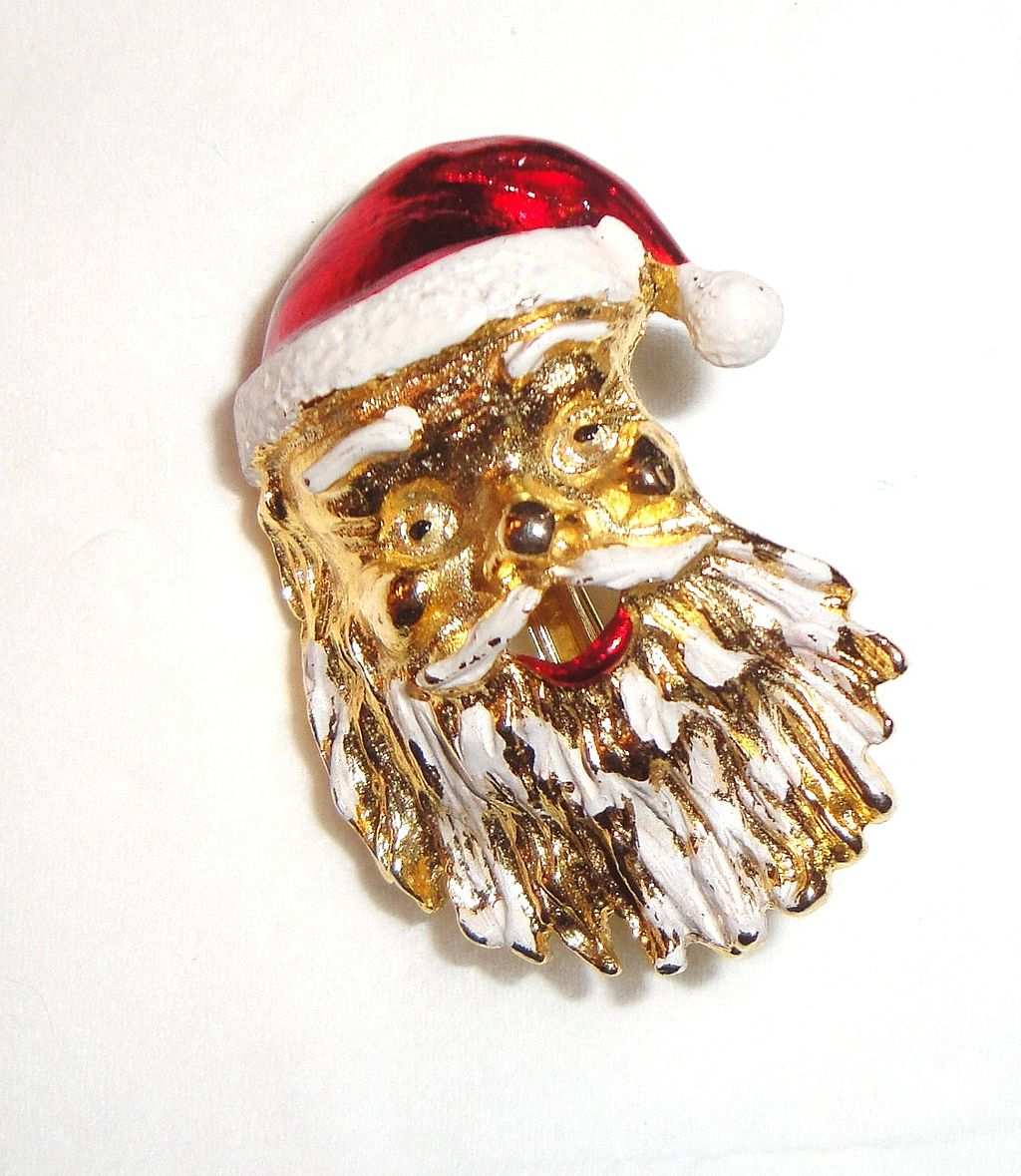 Vintage Signed Gerry's Santa's Face Pin