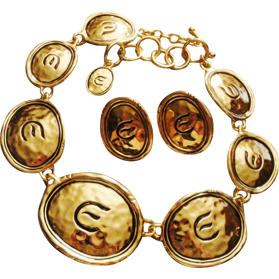 "22 k Gold Plated Medallion ""Signature Gold Coast"" Necklace & Clip Earrings ~ Avon's Elizabeth Taylor Signed Collection"
