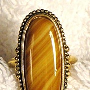 SALE Signed Vintage Avon �Shimmering Sands Ring� ~ Size 7 1/2 ~ agate striated in sand shades
