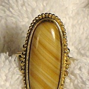 SALE Signed Vintage Avon �Shimmering Sands Ring� ~ Size 10 ~ agate striated in sand shades ~ n