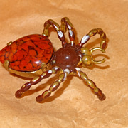 SALE Vintage Spider Pin ~ Large Prong Set Marbled Orangy-red Cabochon Body with Hand-painted H