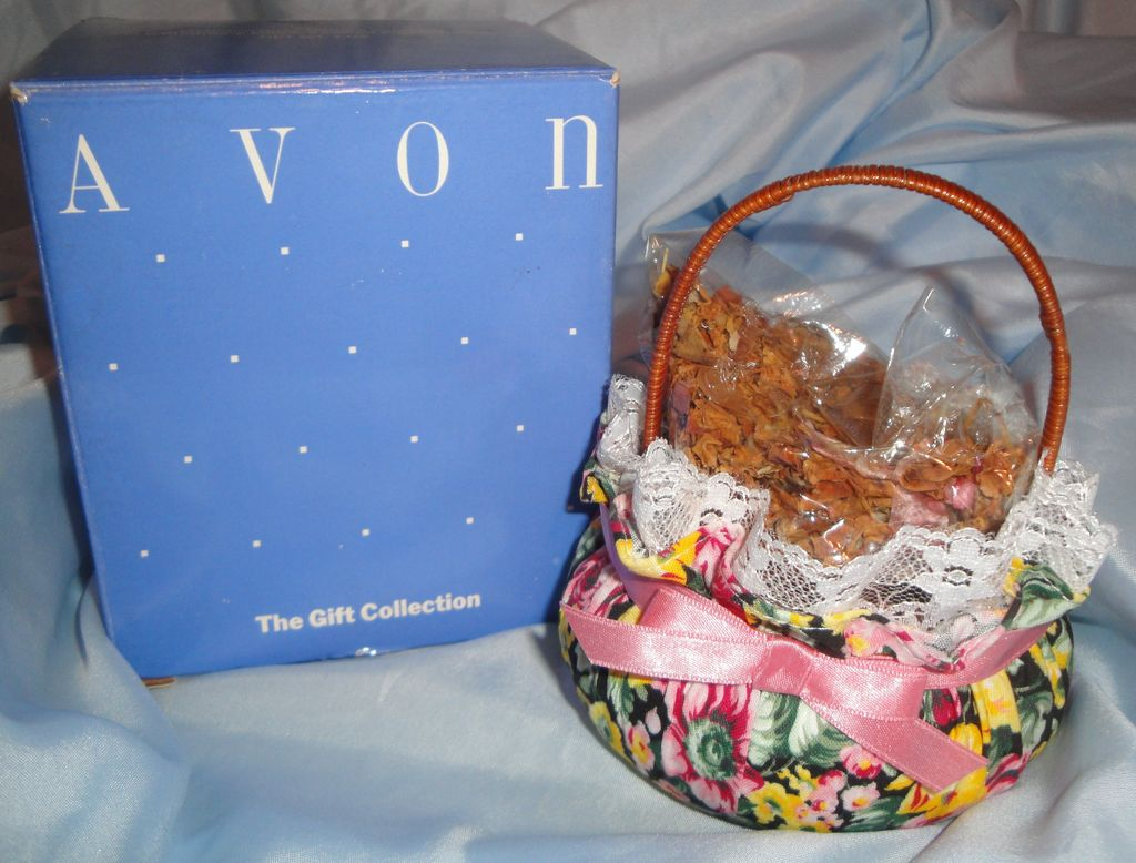 Vintage Avon Victorian Rose Garden Potpourri in a Charming Fabric-Covered Wicker Basket. NET WT. 1 OZ