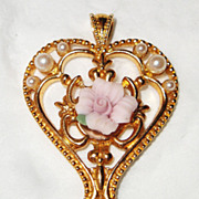 SALE Signed Avon &quot;Victorian Style Heart Necklace&quot; & Pierced Earrings ~ porcelain ros