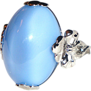 "SALE Vintage Signed Avon ""Victorian Splendor"" Ring ~ Size 6� ~ large blue moonstone"