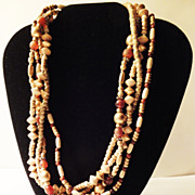 SALE Vintage 4-Strand Beaded Necklace in Hues of Brown