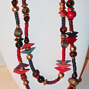 SALE Vintage 84� Multi-shaped Beaded Necklace of Hues of Brown