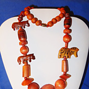 SALE Vintage Wood Beaded Animal Necklace ~ 3 animals and large multi-shaped beads
