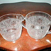 "Indiana Glass Co. ""Sandwich"" Tiara Sugar and Creamer Set"