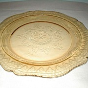 "Federal Glass Co.  Patrician  11"" Amber Plate"
