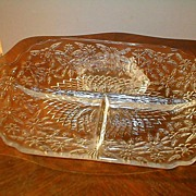 Depression Glass Pineapple & Flora Crystal 3 Part Relish Dish