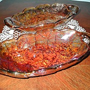 Amber Carnival Glass Relish Dishes