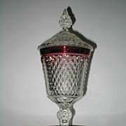 "Indiana Glass ""Diamond Point""  Ruby Flash Covered Compote"